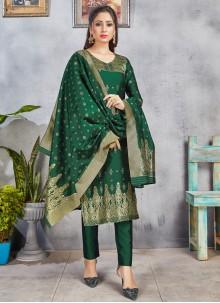 Art Banarasi Silk Woven Green Pant Style Suit