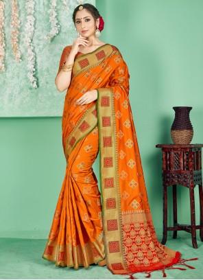 Art Banarasi Silk Woven Orange Traditional Designer Saree
