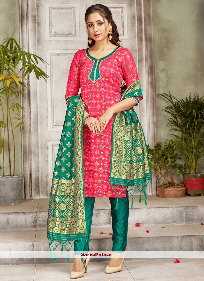 Pink Art Banarasi Silk Woven Pant Style Suit