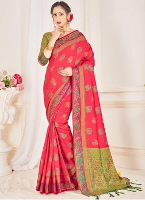Art Banarasi Silk Woven Pink Traditional Saree