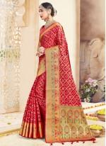 Art Banarasi Silk Woven Red Designer Traditional Saree
