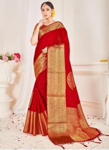 Art Banarasi Silk Woven Red Traditional Designer Saree