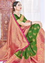 Art Banarasi Silk Woven Traditional Designer Saree in Green
