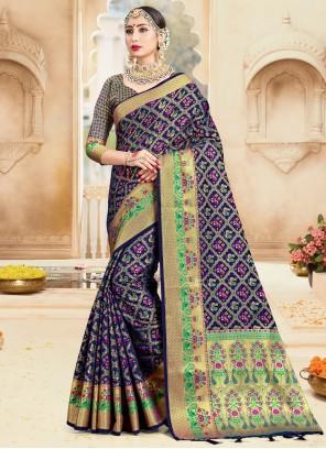Art Banarasi Silk Woven Traditional Designer Saree in Navy Blue