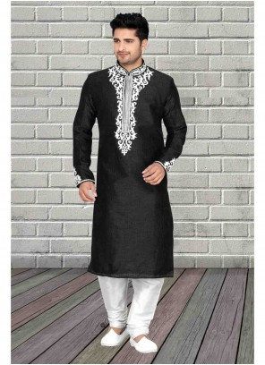 Art Dupion Silk Black Embroidered Kurta Pyjama