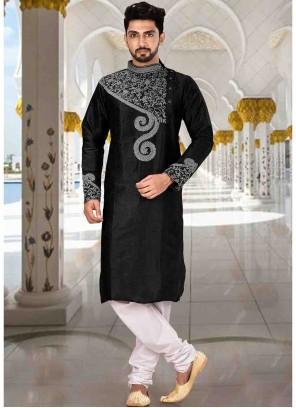 Art Dupion Silk Black Kurta Pyjama
