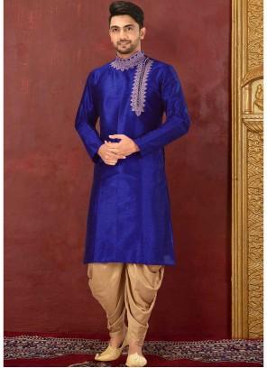 Art Dupion Silk Blue Embroidered Kurta Payjama With Jacket