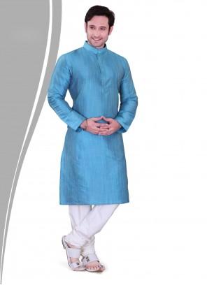 Art Dupion Silk Blue Kurta Pyjama