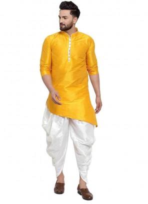 Art Dupion Silk Dhoti Kurta in Yellow