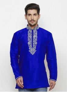 Art Dupion Silk Embroidered Blue Kurta
