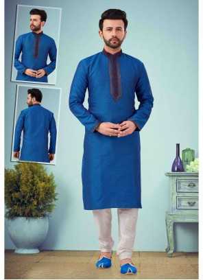 Art Dupion Silk Embroidered Blue Kurta Pyjama
