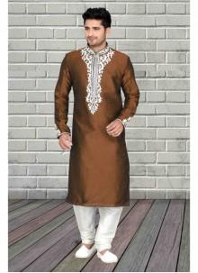 Art Dupion Silk Embroidered Brown Kurta Pyjama