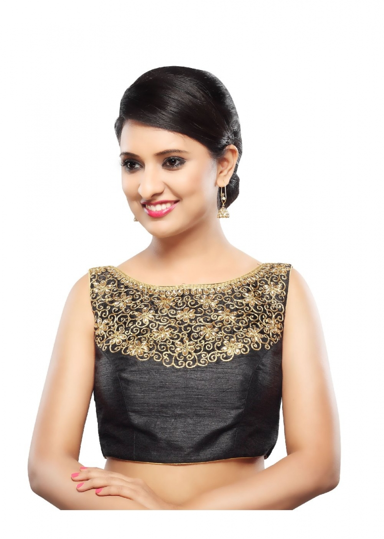 9afd03e22e Buy Art Dupion Silk Embroidered Designer Blouse in Black Online