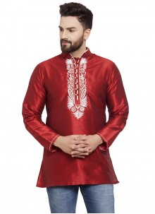 Art Dupion Silk Embroidered Kurta in Maroon