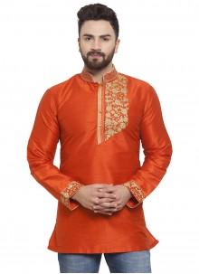 Art Dupion Silk Embroidered Kurta in Orange