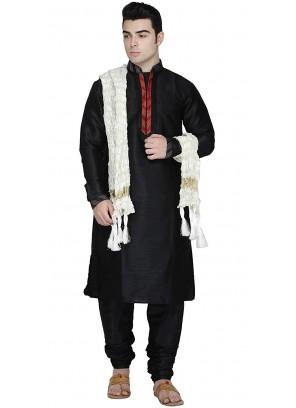 Art Dupion Silk Embroidered Kurta Pyjama in Black