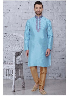 Art Dupion Silk Embroidered Kurta Pyjama in Blue