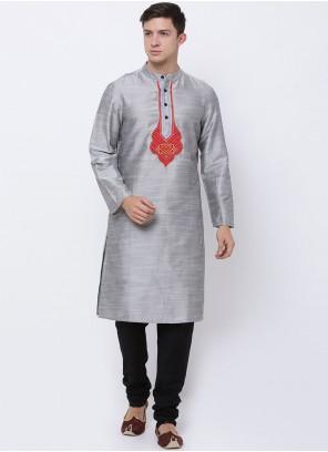 Art Dupion Silk Embroidered Kurta Pyjama in Grey
