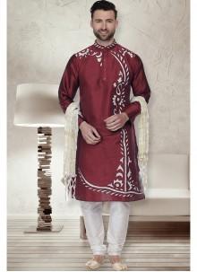 Art Dupion Silk Embroidered Kurta Pyjama in Maroon