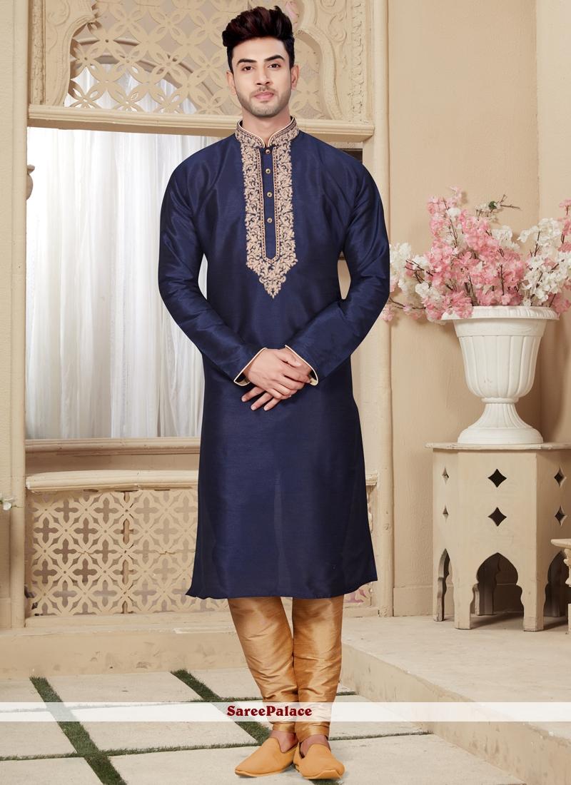 Art Dupion Silk Embroidered Kurta Pyjama in Navy Blue