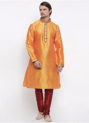 Art Dupion Silk Embroidered Kurta Pyjama in Orange