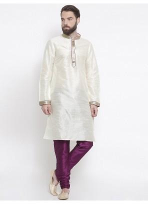 Art Dupion Silk Embroidered White Kurta Pyjama