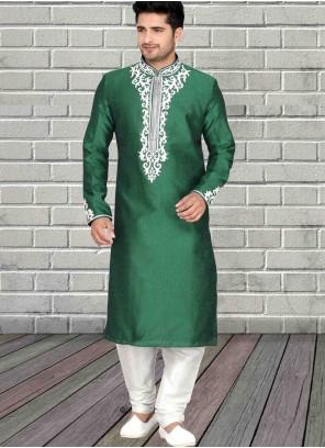 Art Dupion Silk Green Kurta Pyjama