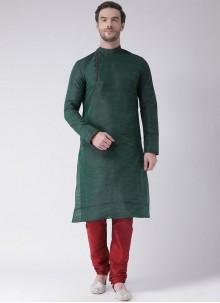 Art Dupion Silk Green Plain Kurta Pyjama