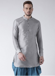 Art Dupion Silk Grey Kurta