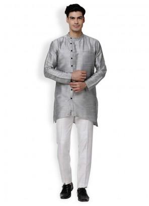 Art Dupion Silk Grey Kurta Pyjama
