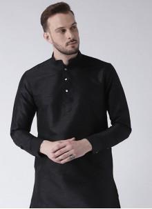 Art Dupion Silk Kurta in Black