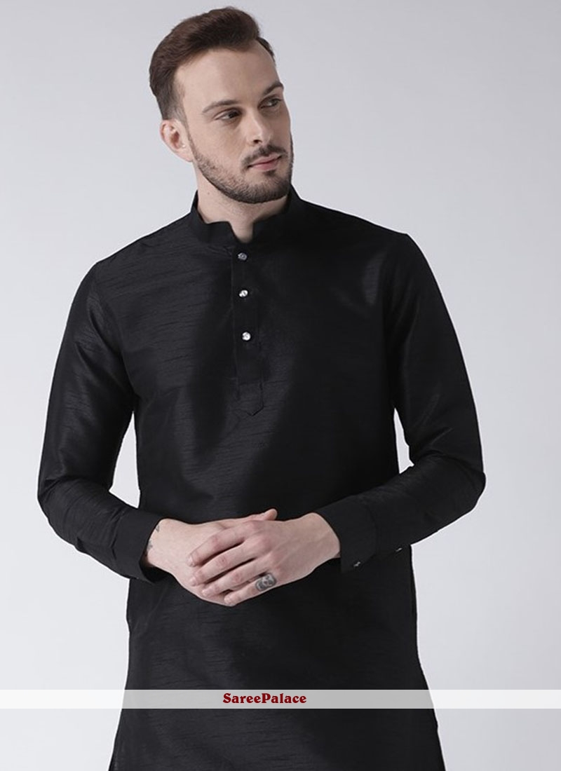 Art Dupion Silk Kurta in Black