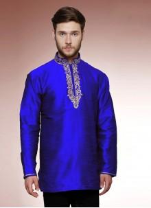 Art Dupion Silk Kurta in Blue