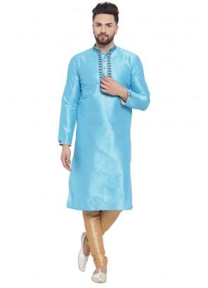 Art Dupion Silk Kurta Pyjama in Aqua Blue