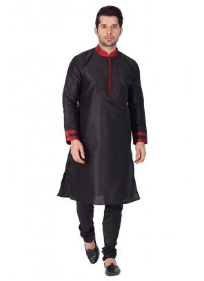 Art Dupion Silk Kurta Pyjama in Black