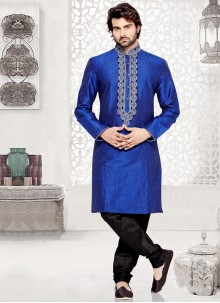 Art Dupion Silk Kurta Pyjama in Blue