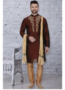 Art Dupion Silk Kurta Pyjama in Brown