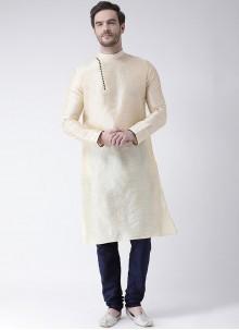 Art Dupion Silk Kurta Pyjama in Cream