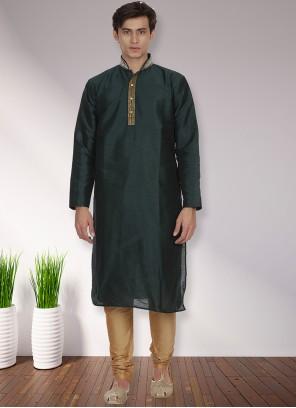 Art Dupion Silk Kurta Pyjama in Green