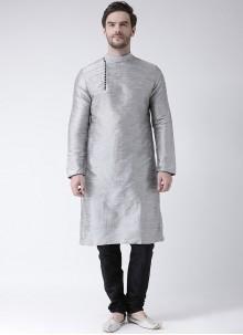 Art Dupion Silk Kurta Pyjama in Grey