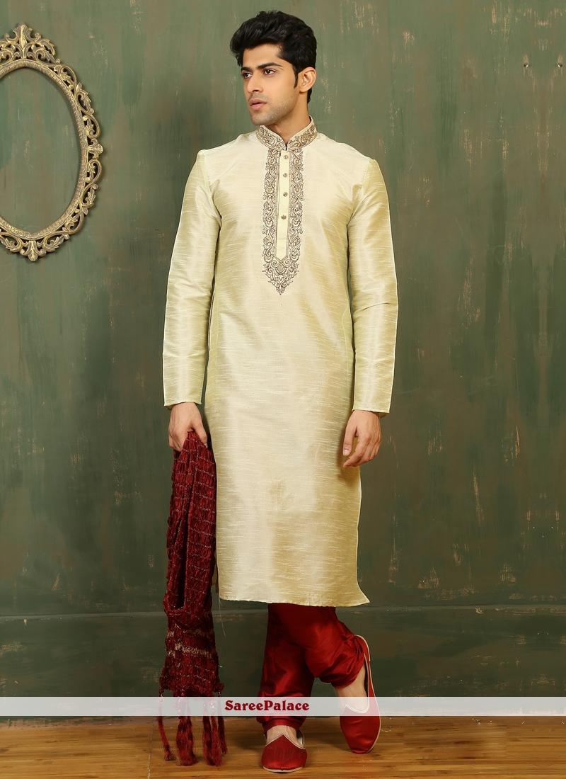 Art Dupion Silk Kurta Pyjama in Off White