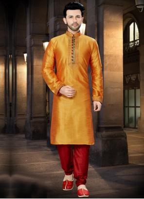 Art Dupion Silk Kurta Pyjama in Orange