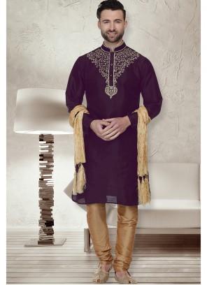 Art Dupion Silk Kurta Pyjama in Purple