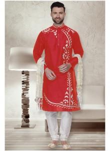 Art Dupion Silk Kurta Pyjama in Red