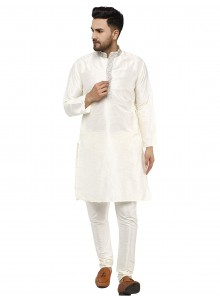 Art Dupion Silk Kurta Pyjama in White