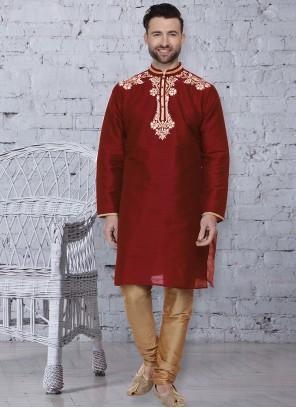 Art Dupion Silk Maroon Kurta Pyjama
