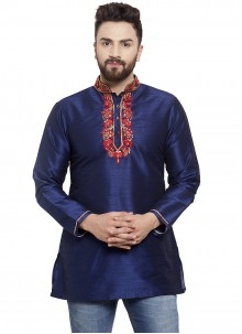 Art Dupion Silk Navy Blue Embroidered Kurta