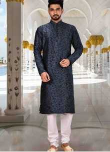 Art Dupion Silk Navy Blue Plain Kurta Pyjama