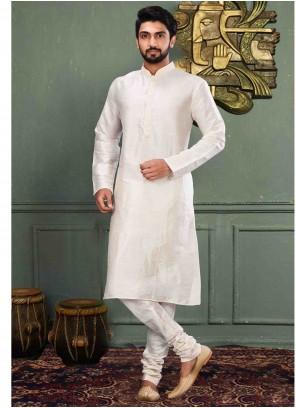 Art Dupion Silk Off White Machine Embroidery  Kurta Pyjama
