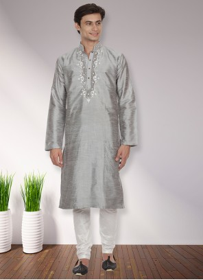 Art Dupion Silk Patchwork Grey Kurta Pyjama